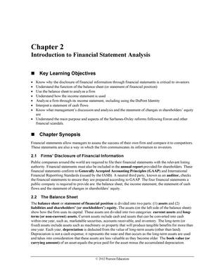synopsis of financial statement analysis