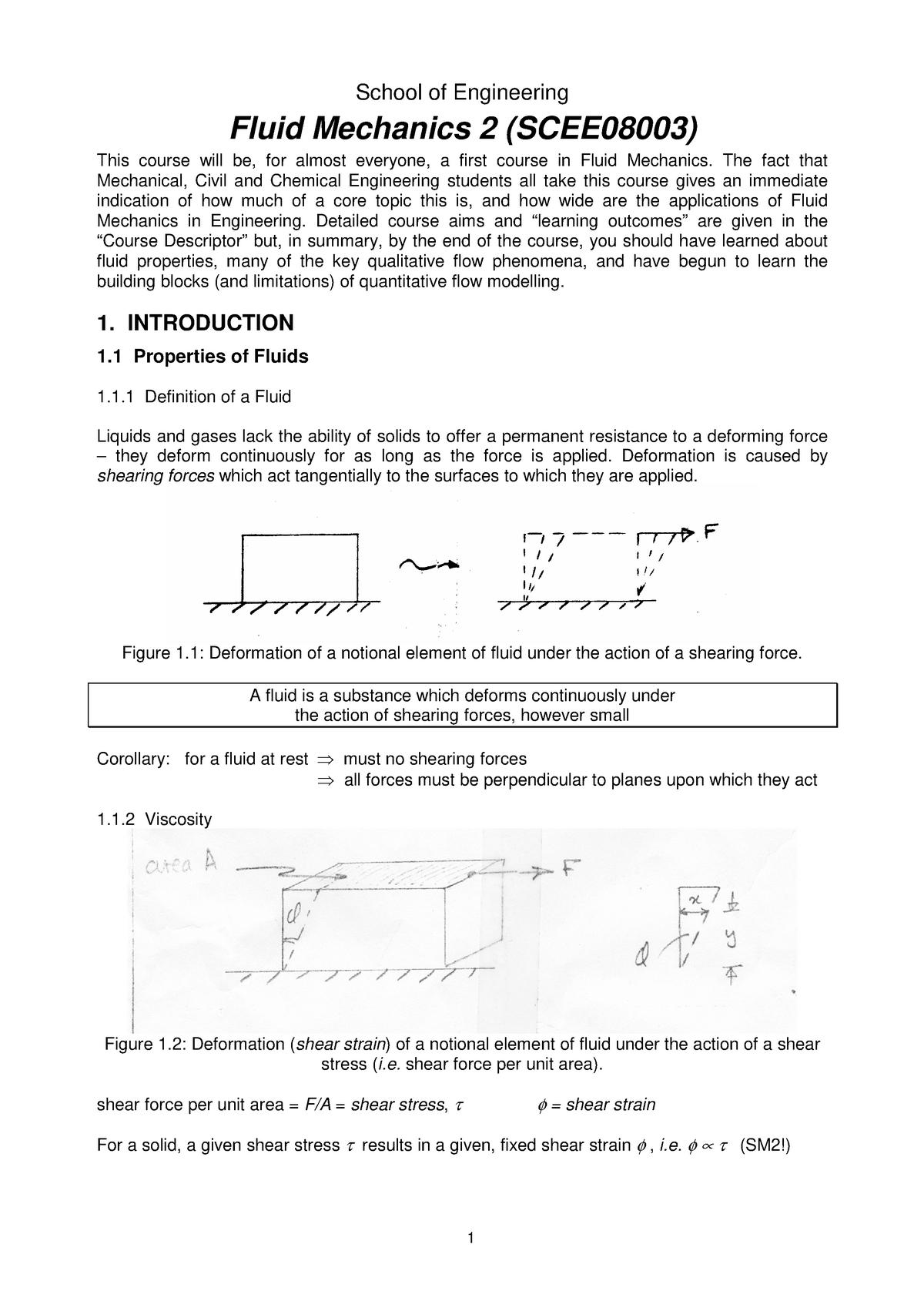 Fluid Mechanics 2 Theory Notes - SCEE08003 - Ed - StuDocu