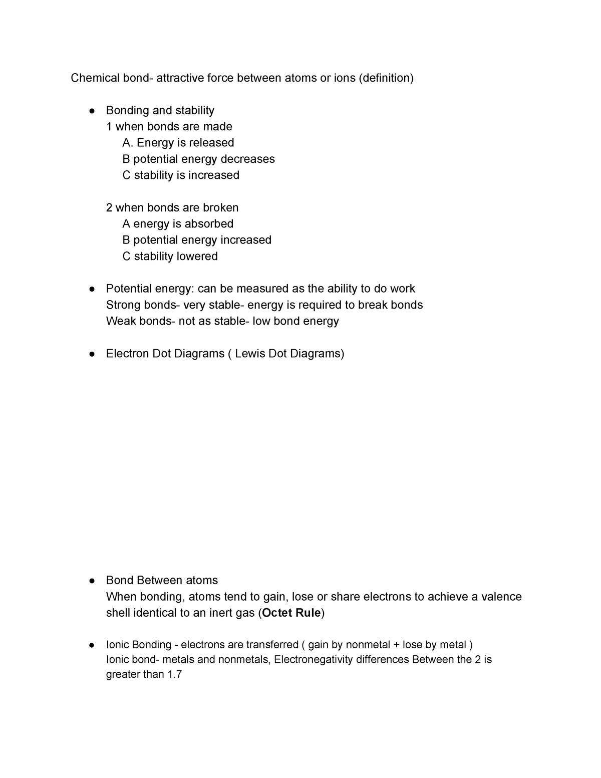 Bonding Note Sle316 Analytical Chemistry Deakin Studocu