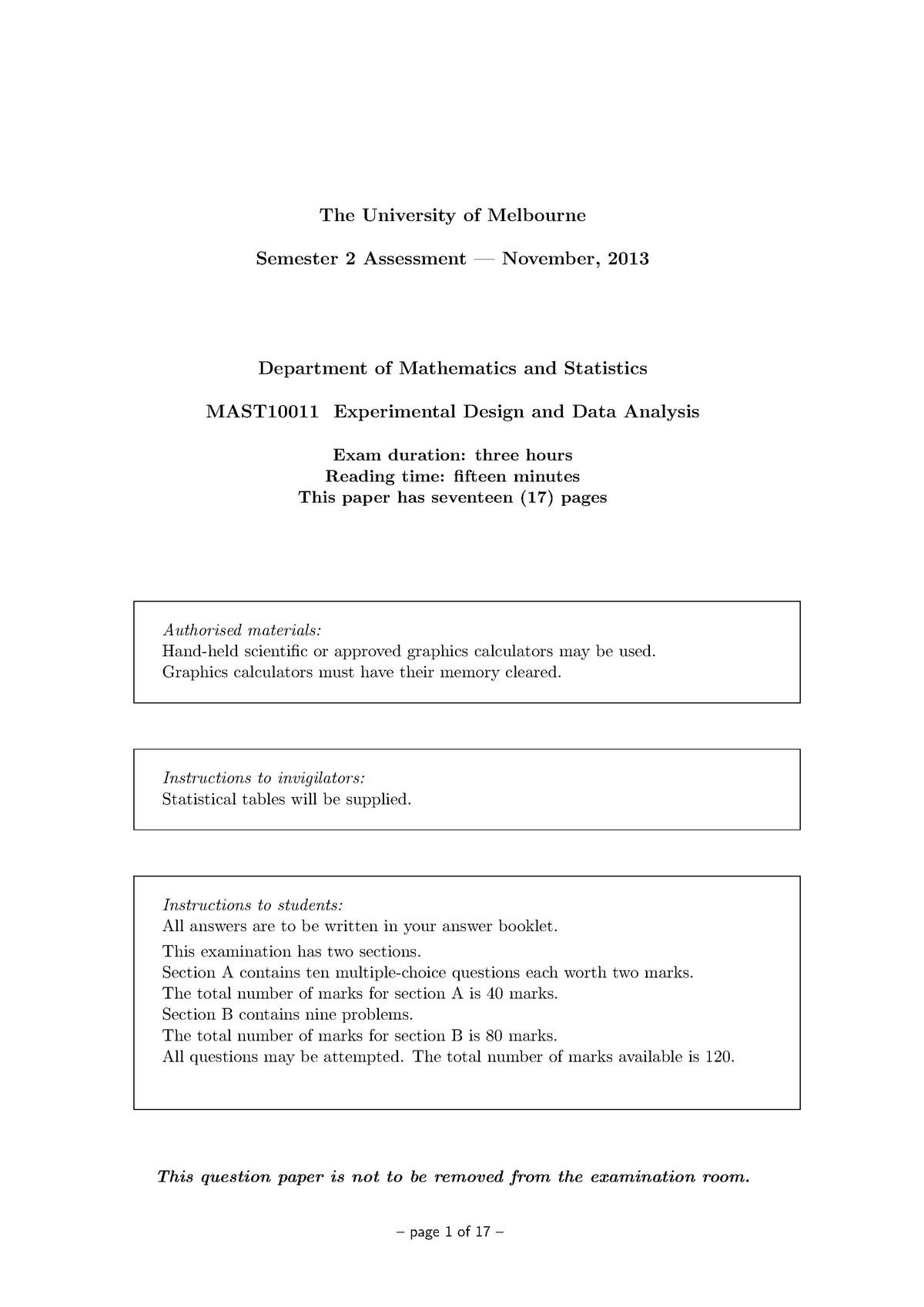 Exam 2013 - MAST10011: Experimental Design And Data Analysis - StuDocu