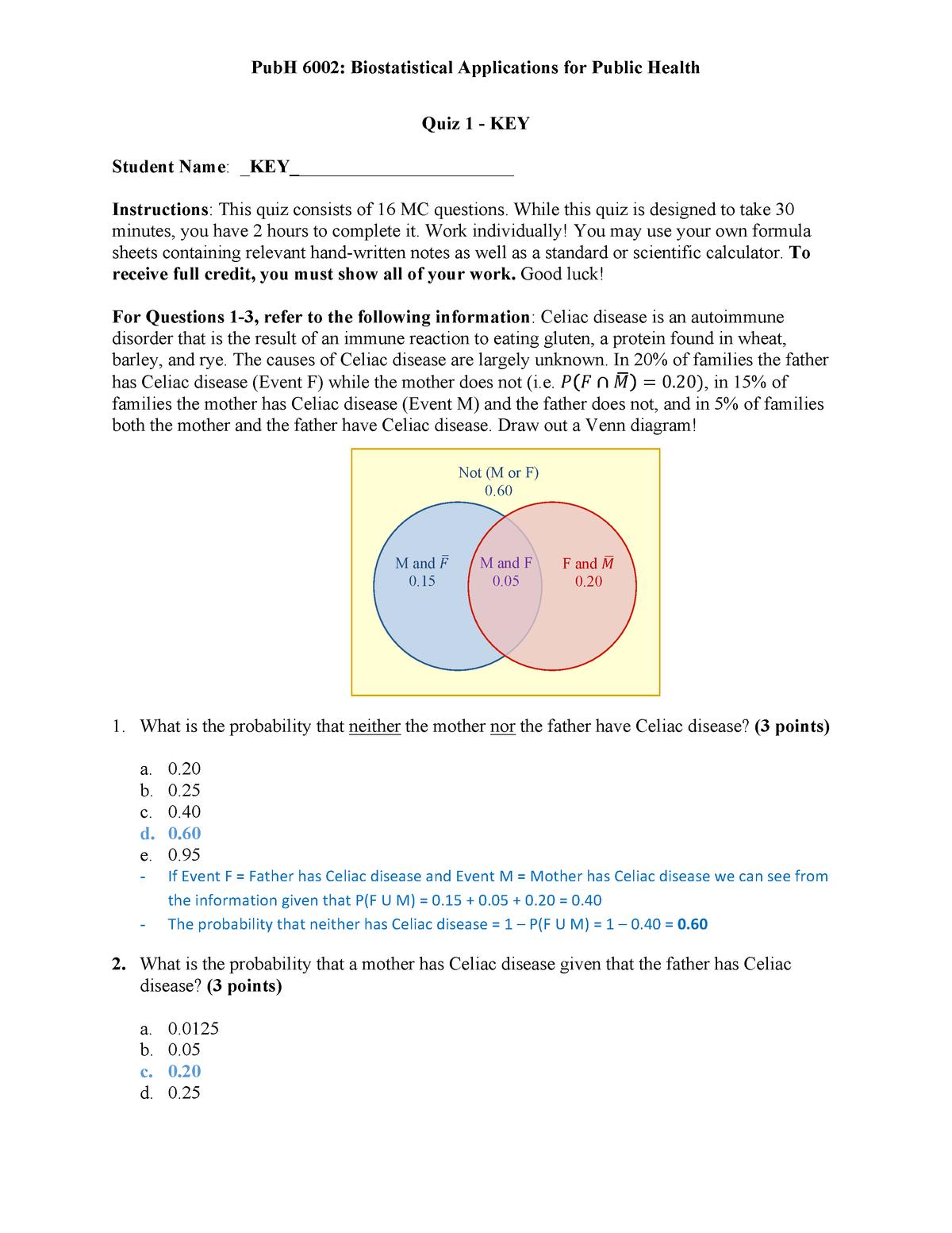 Quiz 1 September 2018, answers - PUBH 6002 - GWU - StuDocu