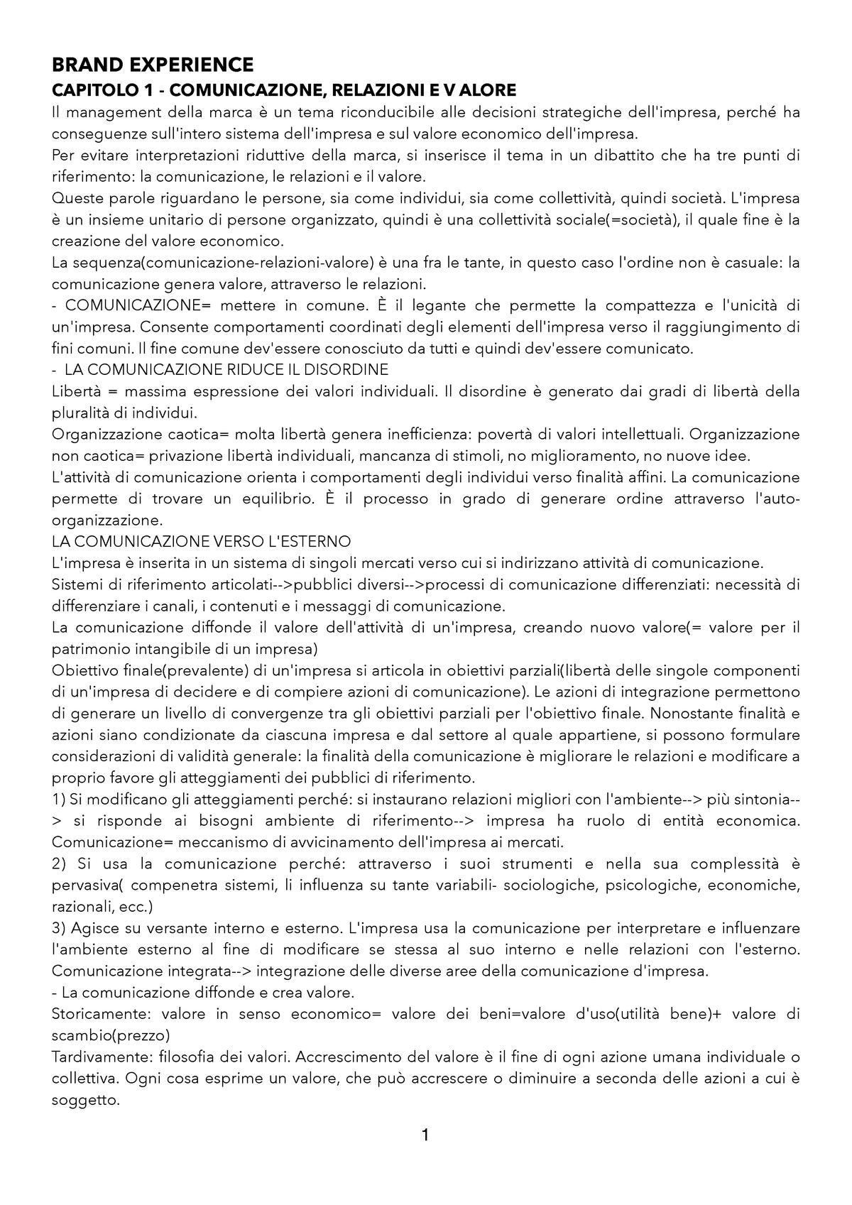 f2c5f6de0f Brand experience - relazioni impresa cliente e valore di marca - SECS-P/08:  Economia e tecnica della comunicazione aziendale - StuDocu