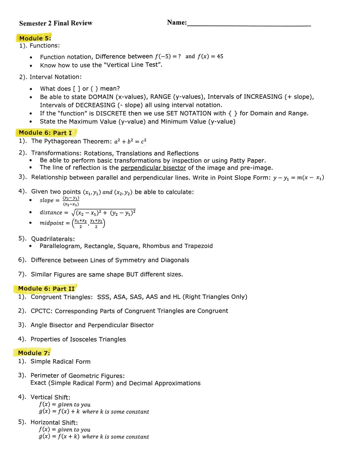 Bestseller: Geometry Pre Post Semester 2 Answers
