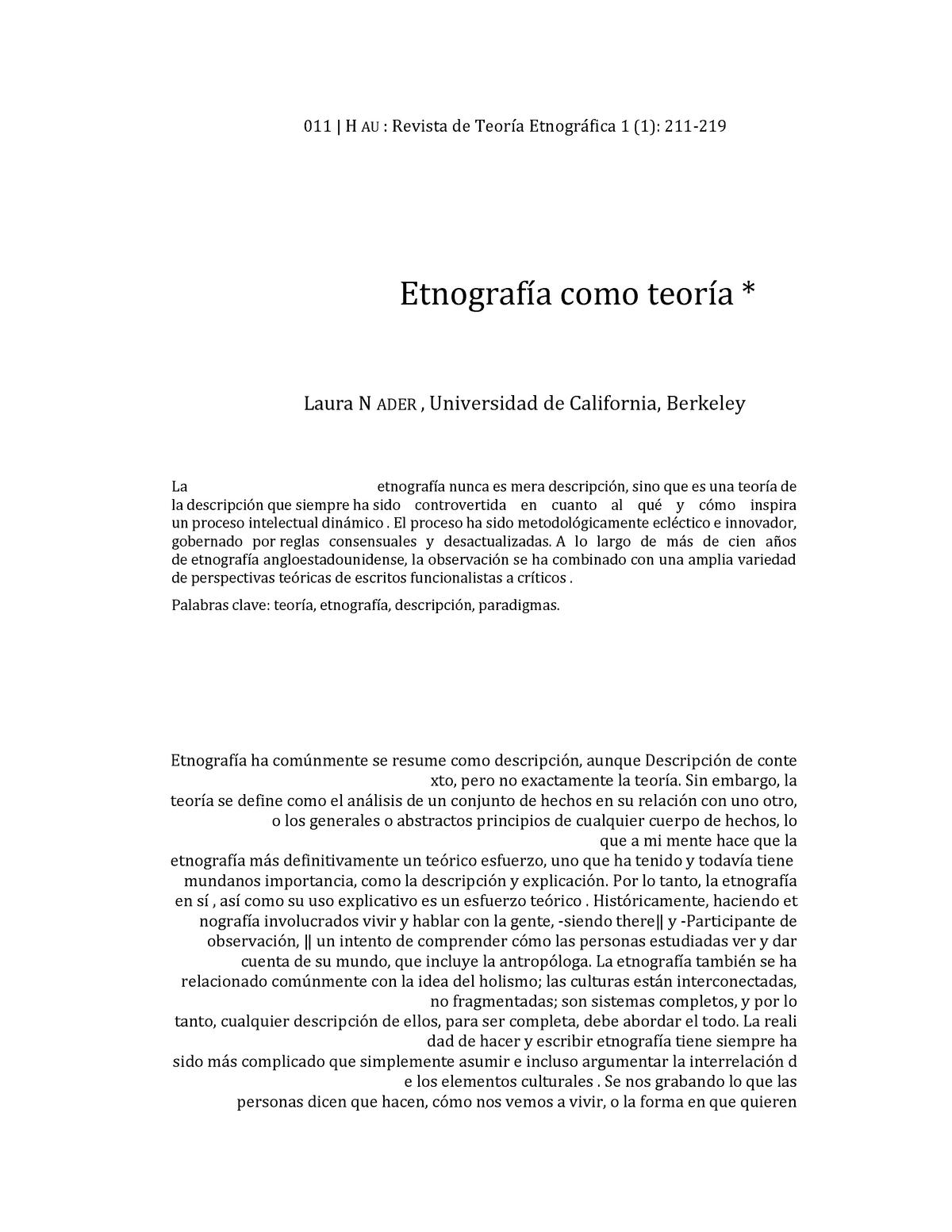 Traducción Google Nader Ethnography As Theory Unmsm
