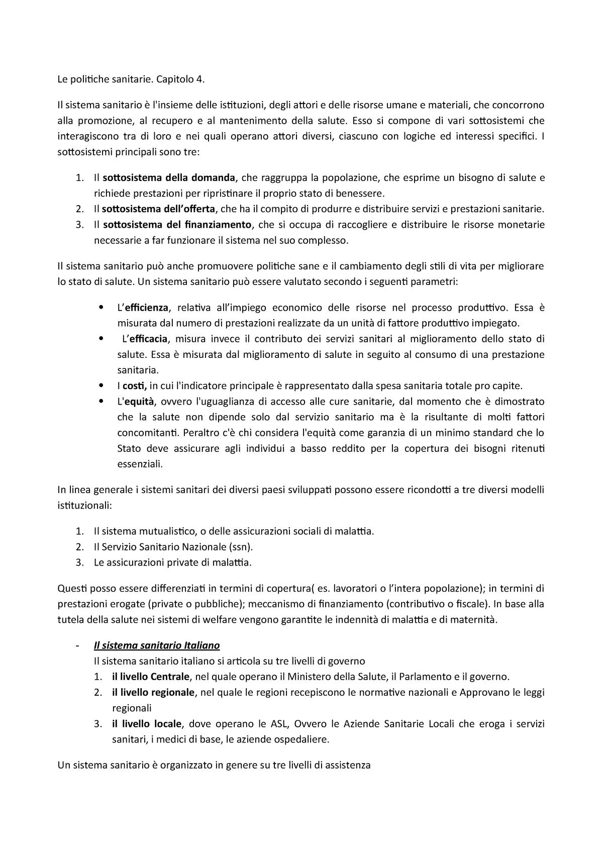 Capitolo 4 Le Politiche Sanitarie Politica Sociale Studocu