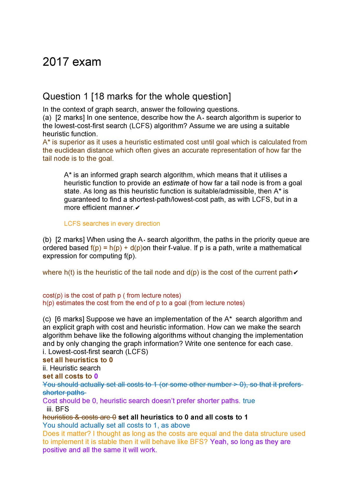 COSC 367 Exam 2017 - Artificial Intelligence COSC367 - StuDocu
