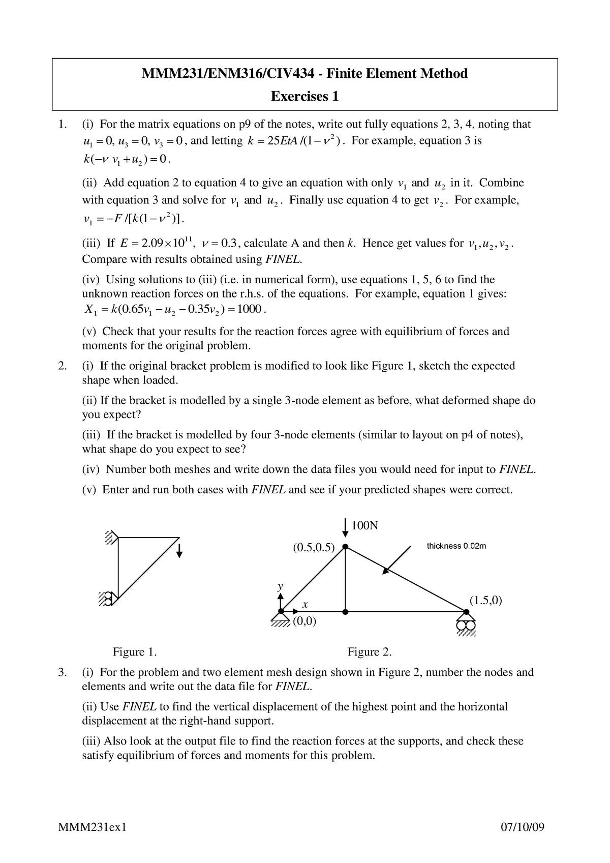 Finite Element Method- Exercises 1 - MMM231/ENM316/CIV434