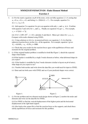 Finite Element Method- Exercises 1 - MMM231/ENM316/CIV434: Finite