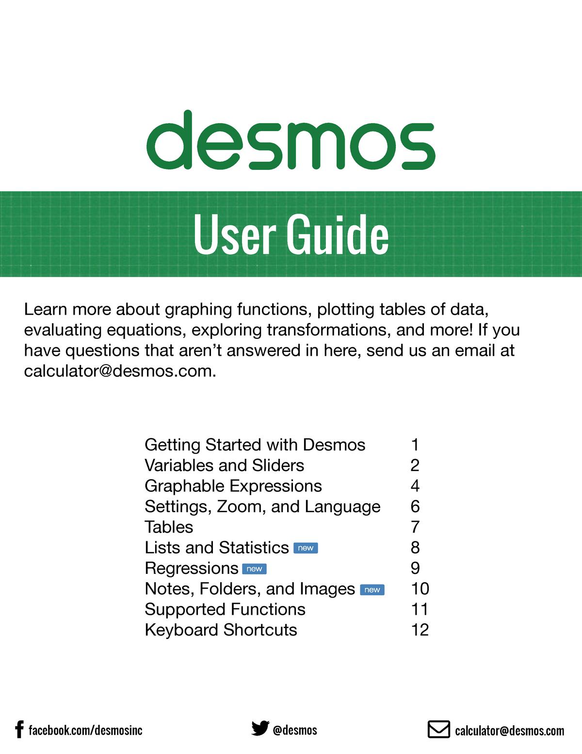 Desmos Calculator User Guide - Math 3301 - Lamar University