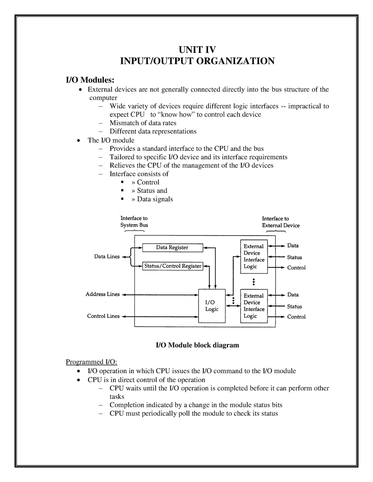 Unit 4 - Input/Output organization : Input interface Data