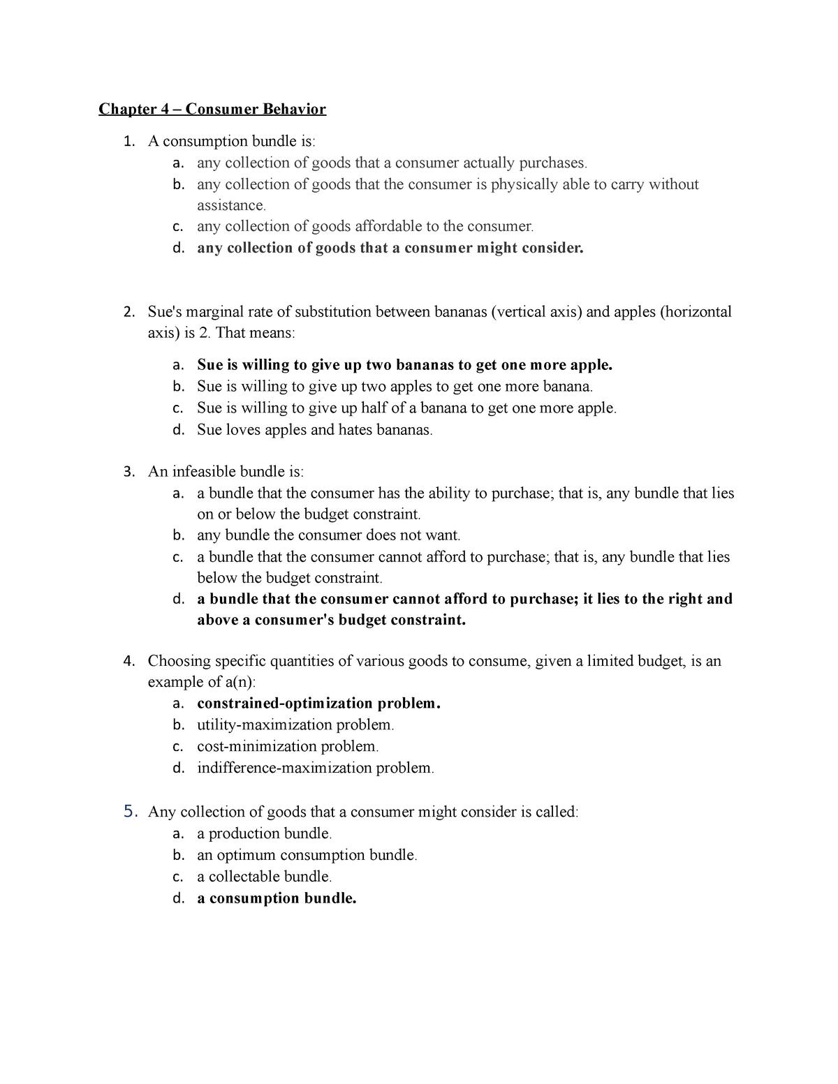 Chapter 4 - Consumer Behavior - ECON 302: Intermediate