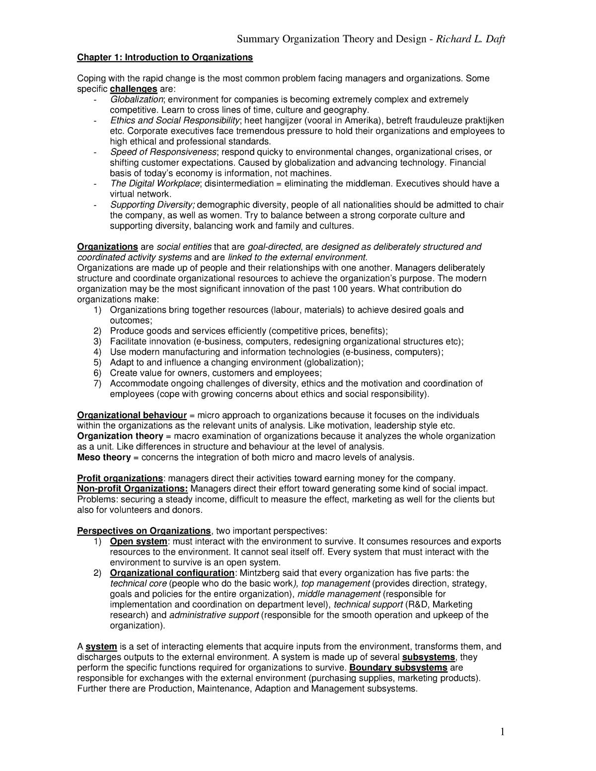 Summary Organization Theory and Design, Richard L  Daft