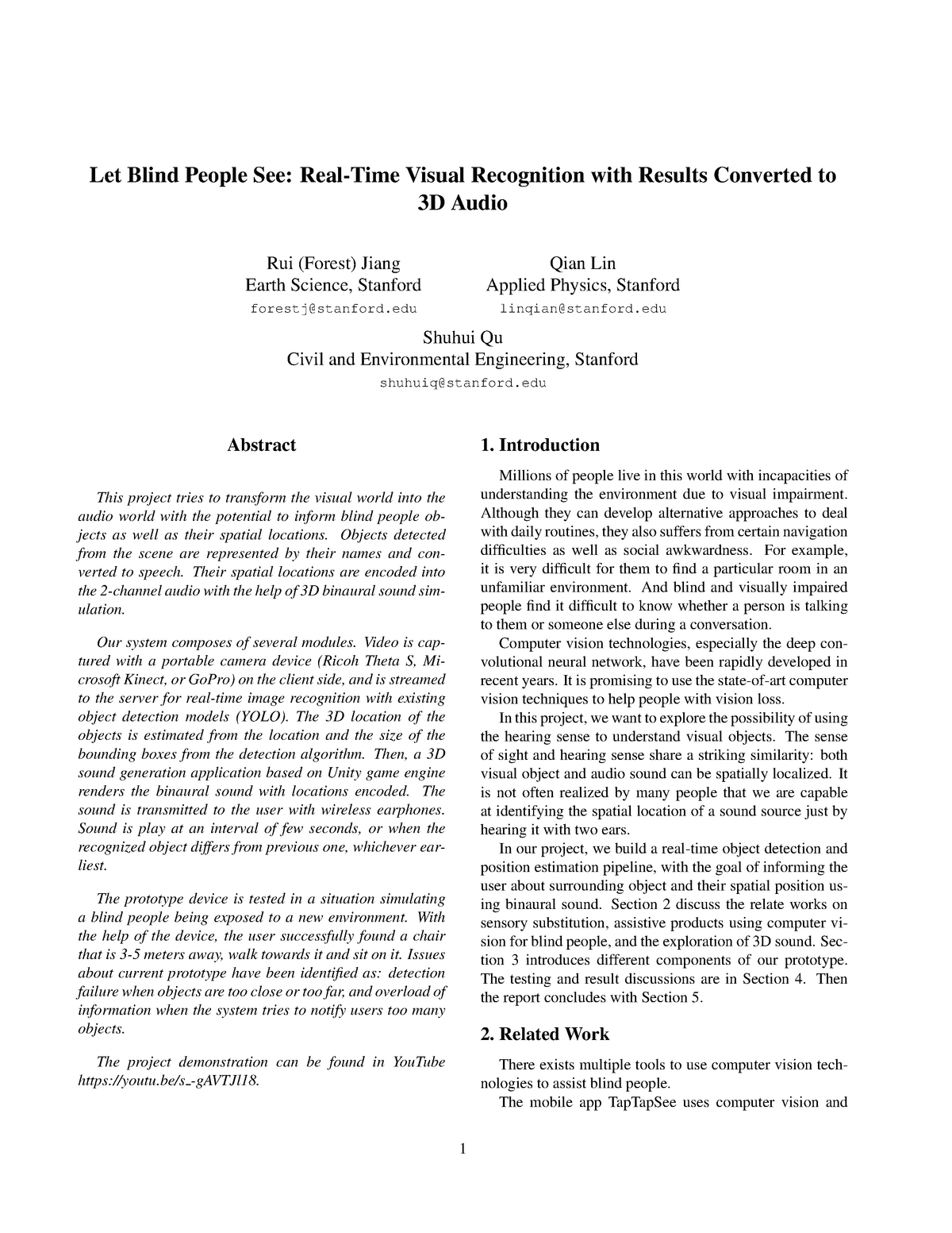 Let blind people see: real-time visual recognition with