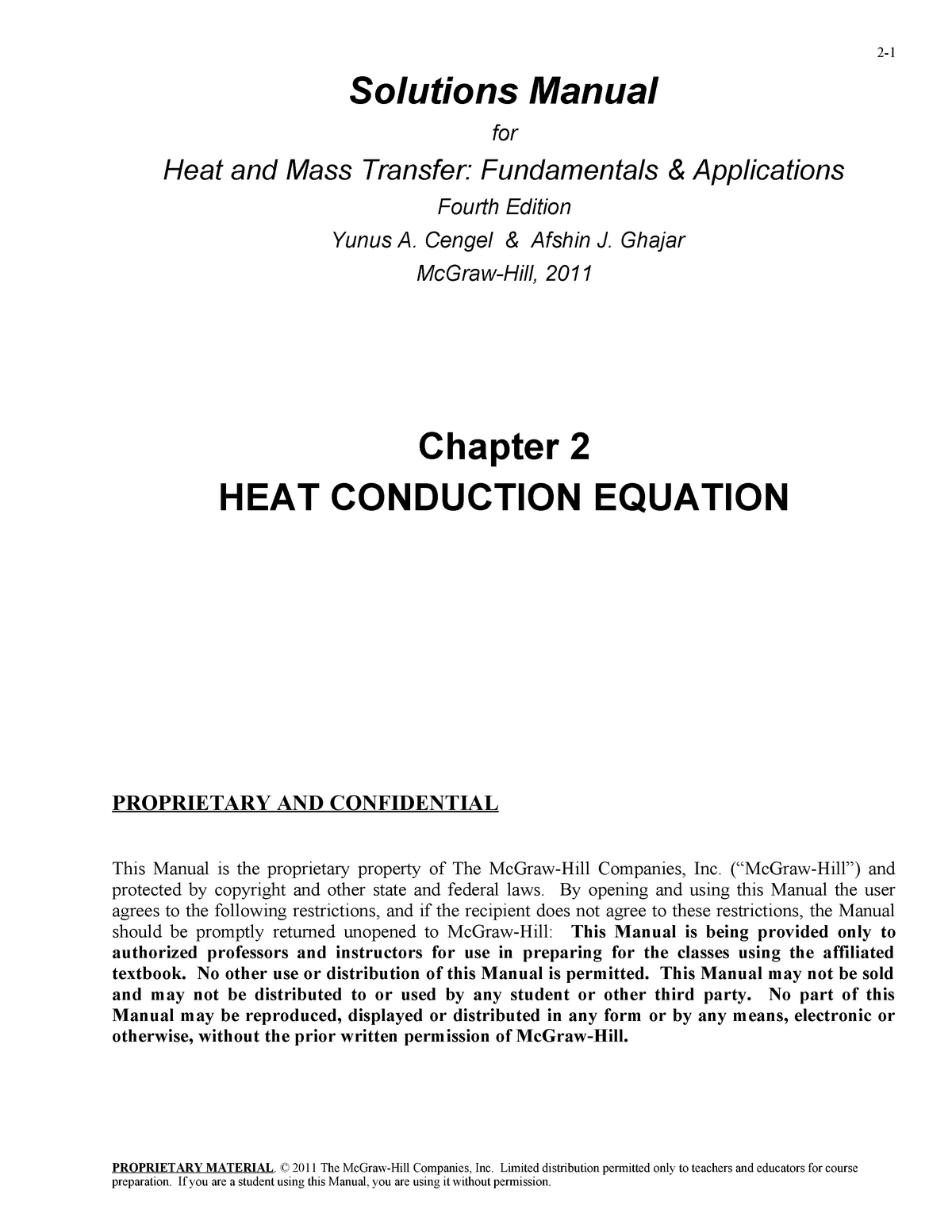 Heat and Mass Transfer 4th Edition Cengel Solution Manual