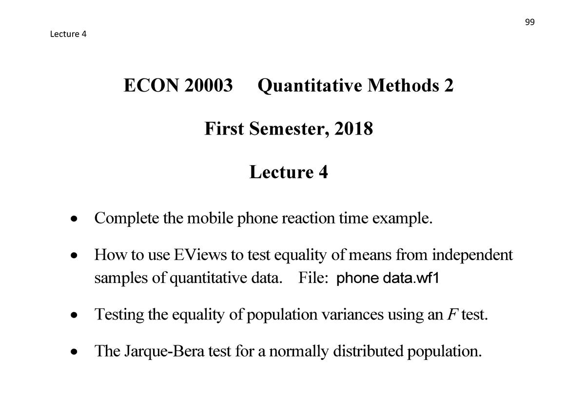 Lecture 4 - ECON20003 Quantitative Methods 2 - Unimelb - StuDocu