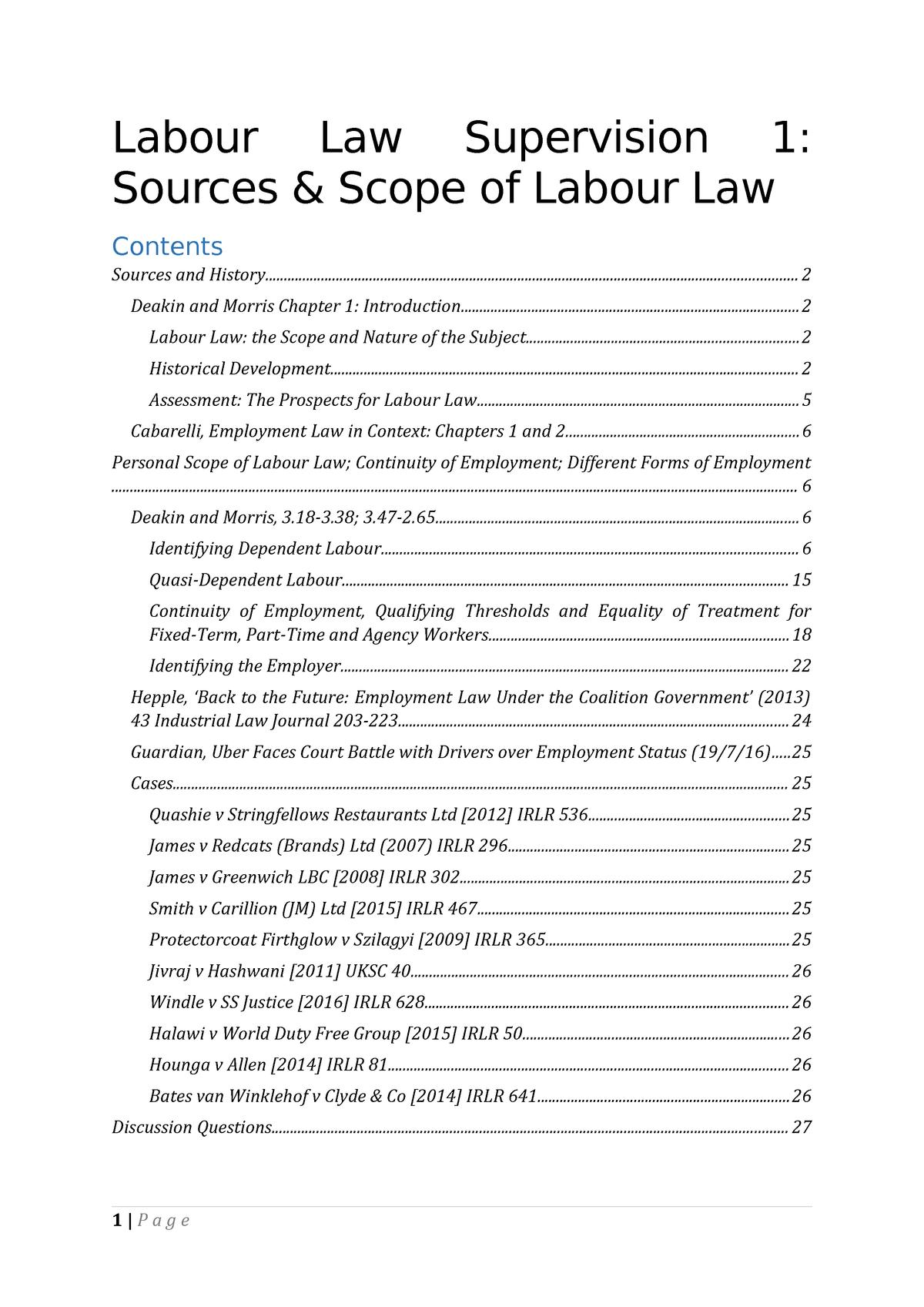 Labour Law notes Supervsion 1 - Law L100 - StuDocu