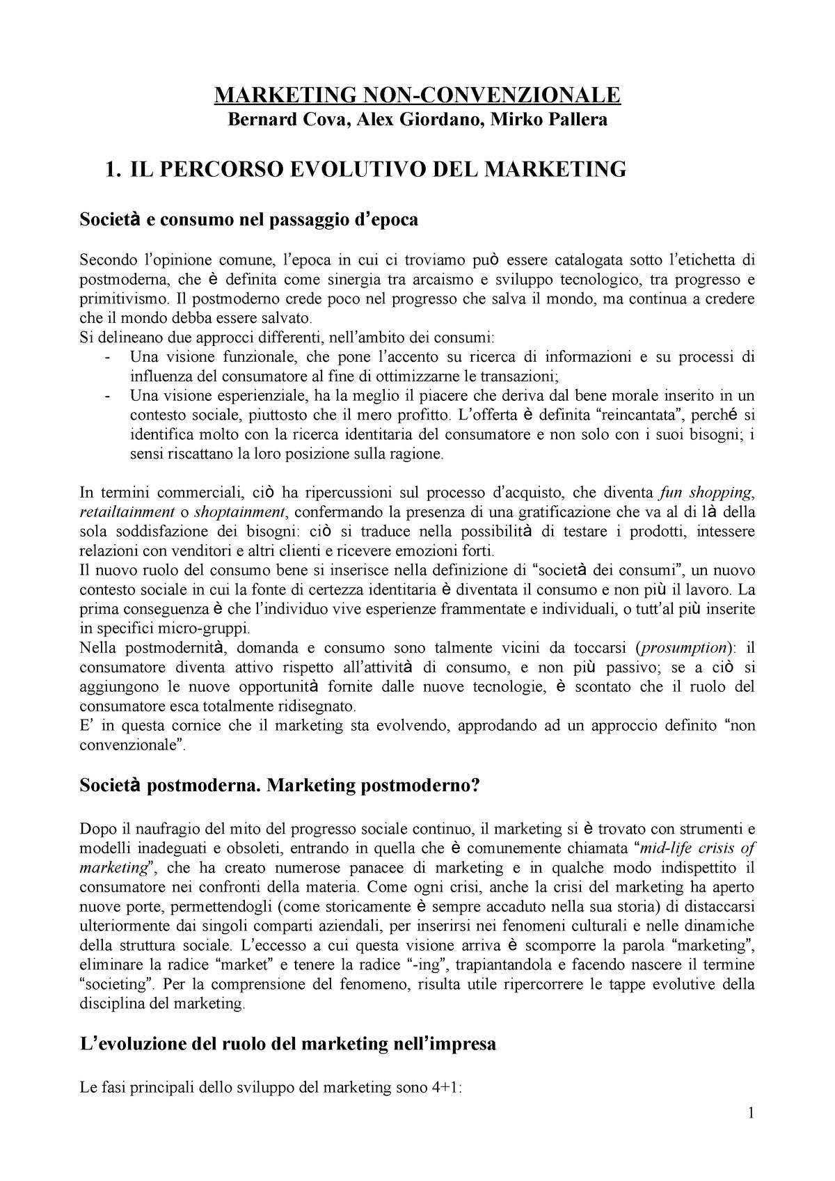 dcb1f23b4f0e42 Riassunto marketing non-convenzionale - EM7014 - StuDocu
