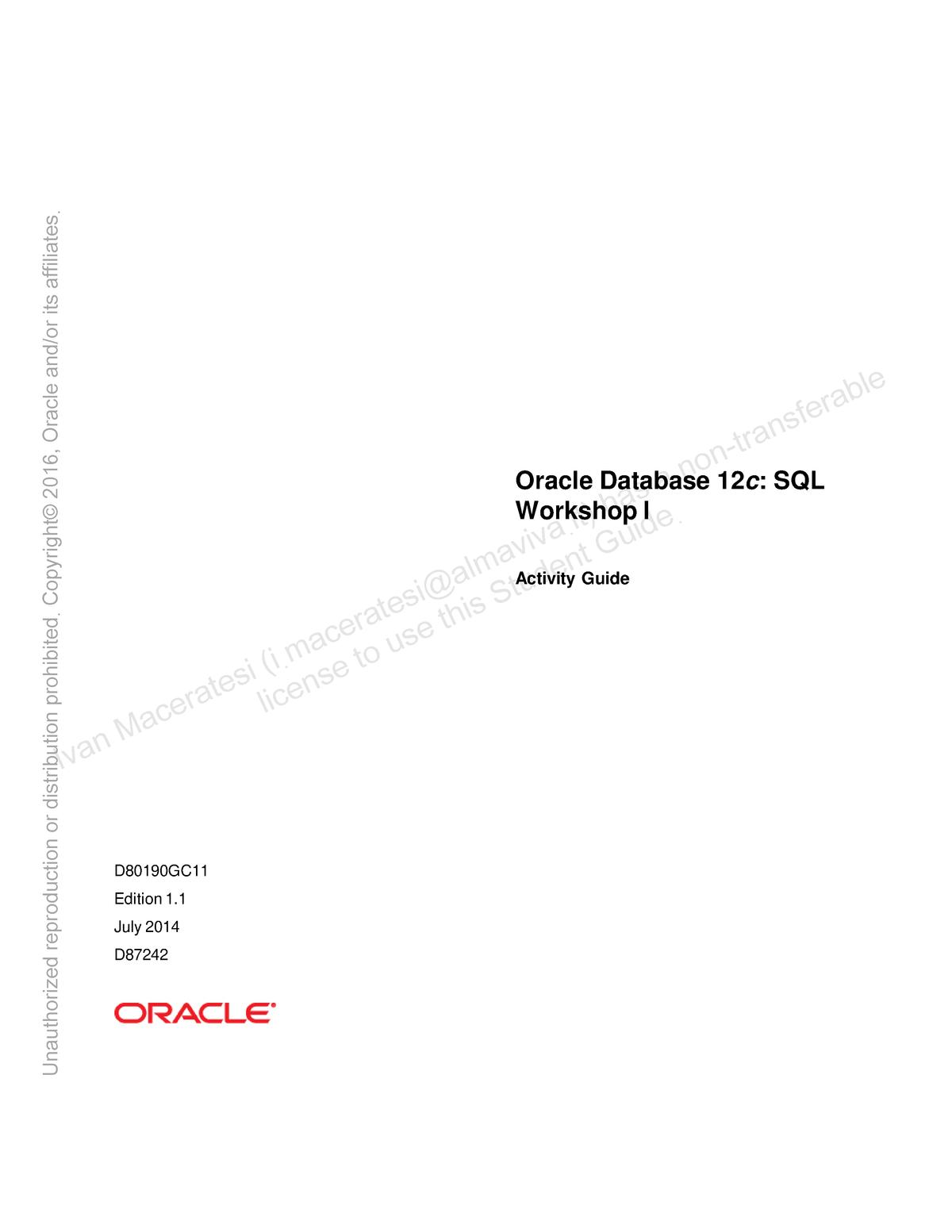 D80190 GC11 ag - Oracle Database 12c SQL Workshop I - StuDocu