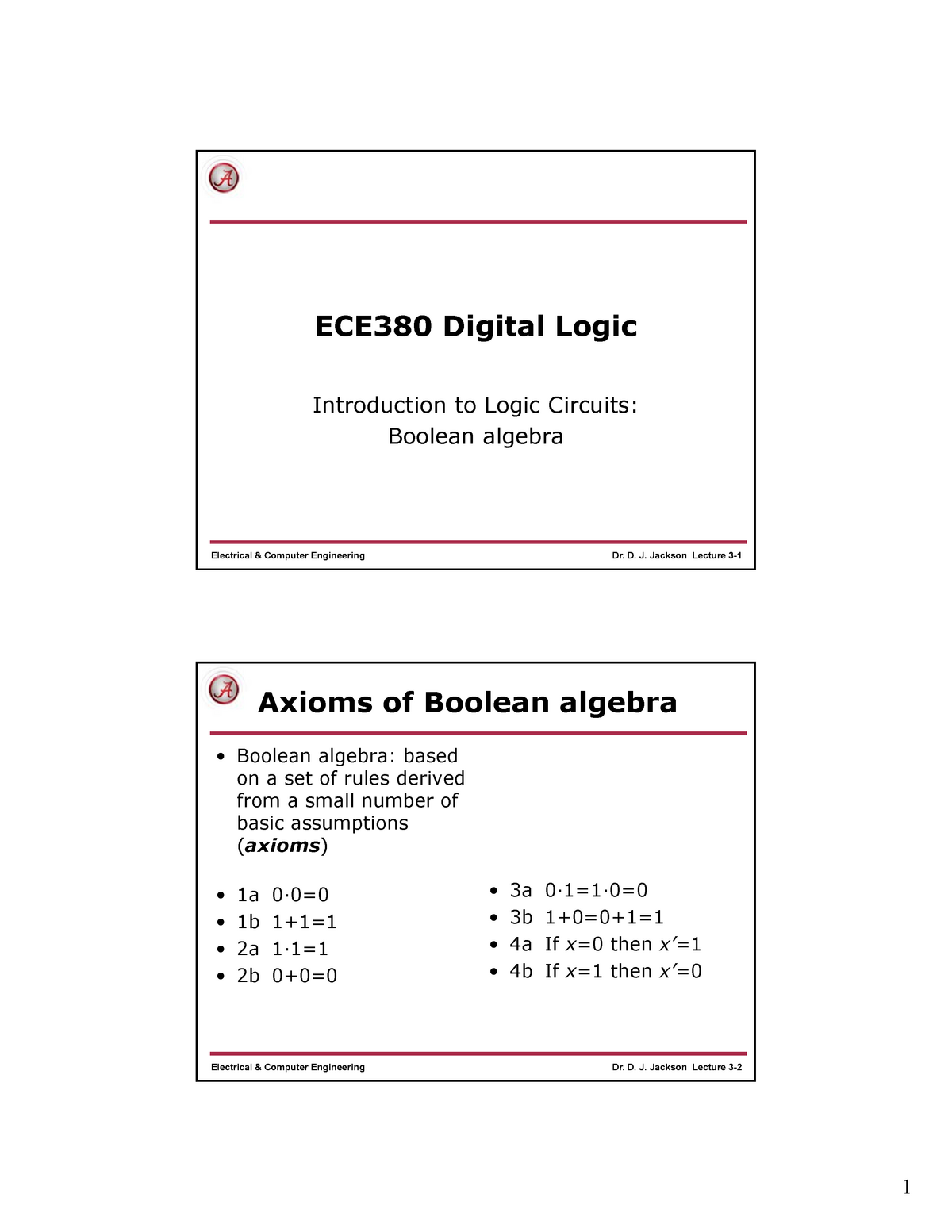 Lec 3 - Introduction to Logic Circuits: Boolean algebra