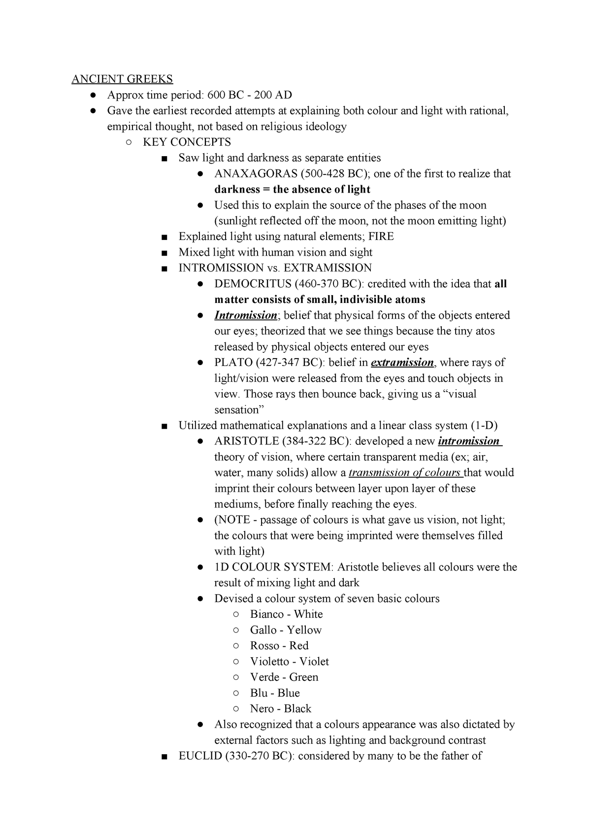 UNIT 1 History OF Light AND Colour Notes - Sc/Nats 1870