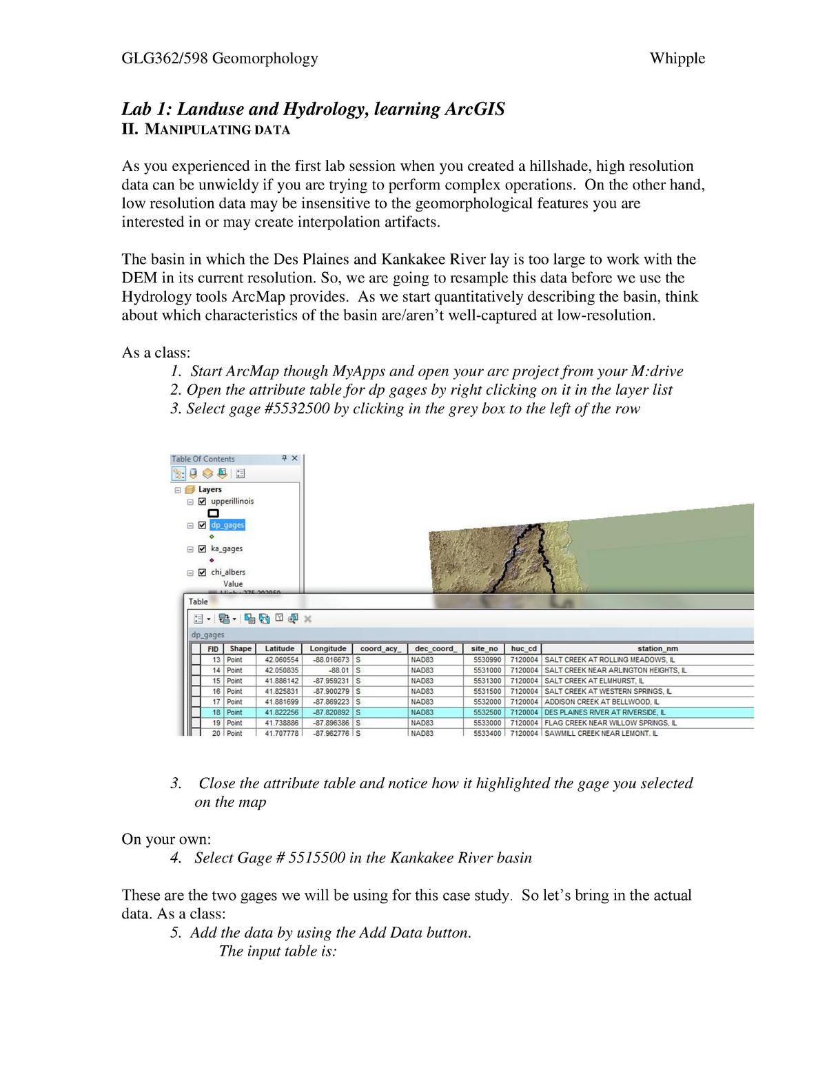 Practical - Lab 1b - GLG 362: Geomorphology - StuDocu
