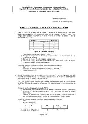 Tema 4  Ejercicios - Planificación de procesos - - UGR - StuDocu