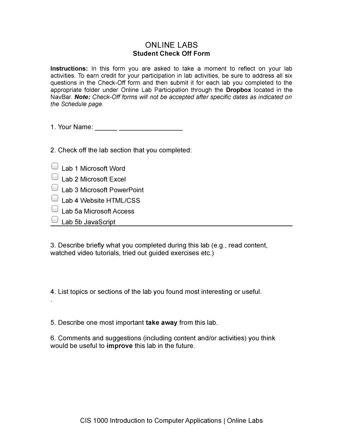 Lab Check Off Form - help with lads use as template not copy