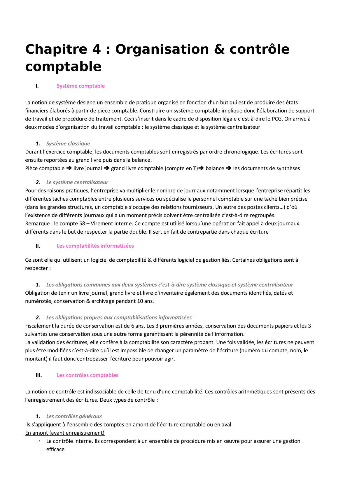 Chapitre 4 Organisation Et Controle Comptable Comptabilite