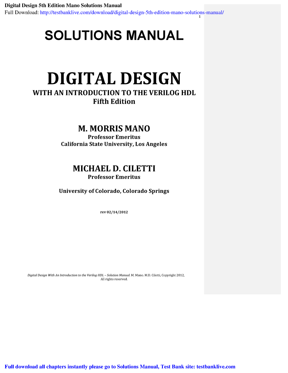 Digital Design 5th Edition Mano Solutions Manual Studocu