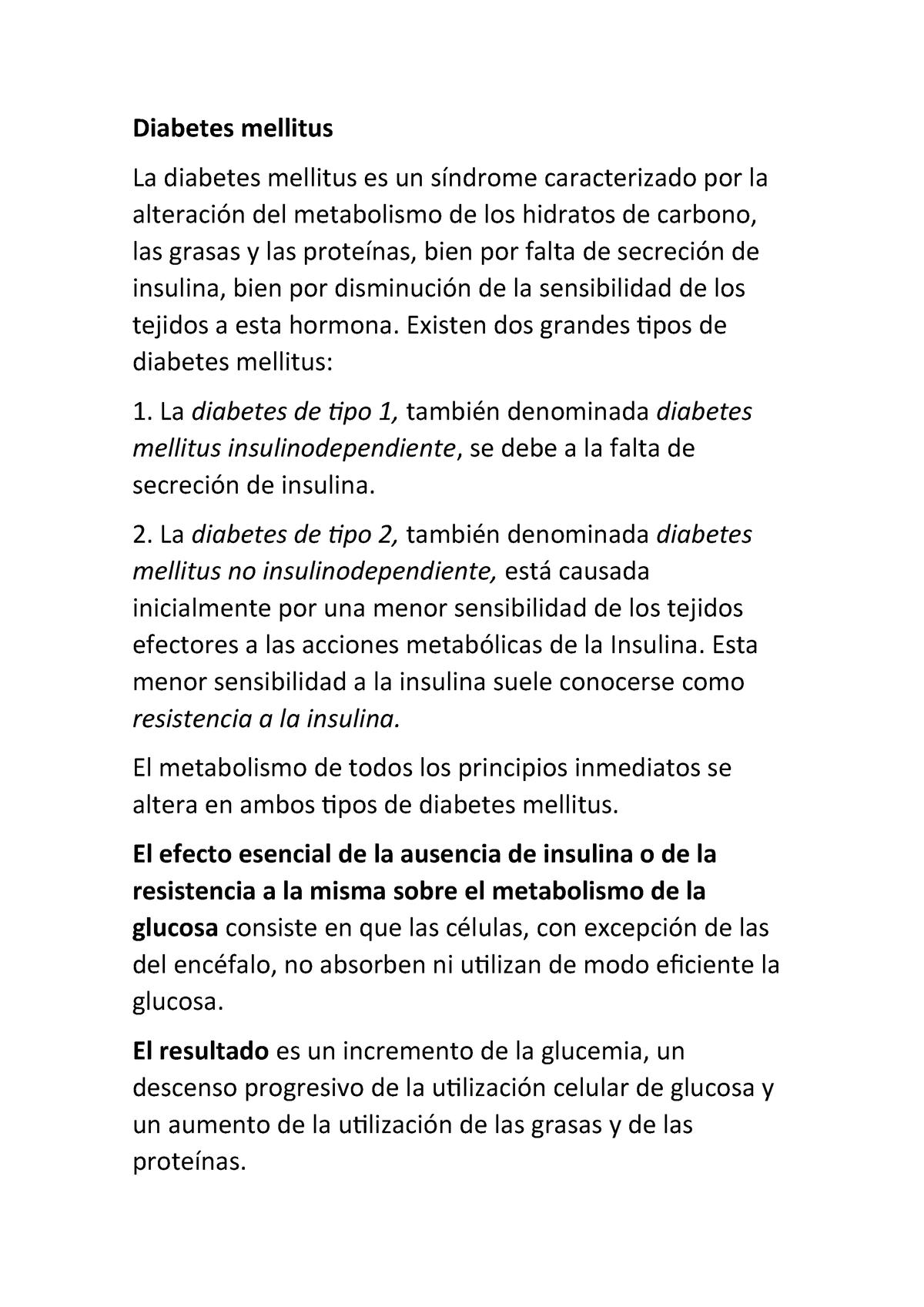 diabetes mellitus tipo 1 metabolismo en tejidos