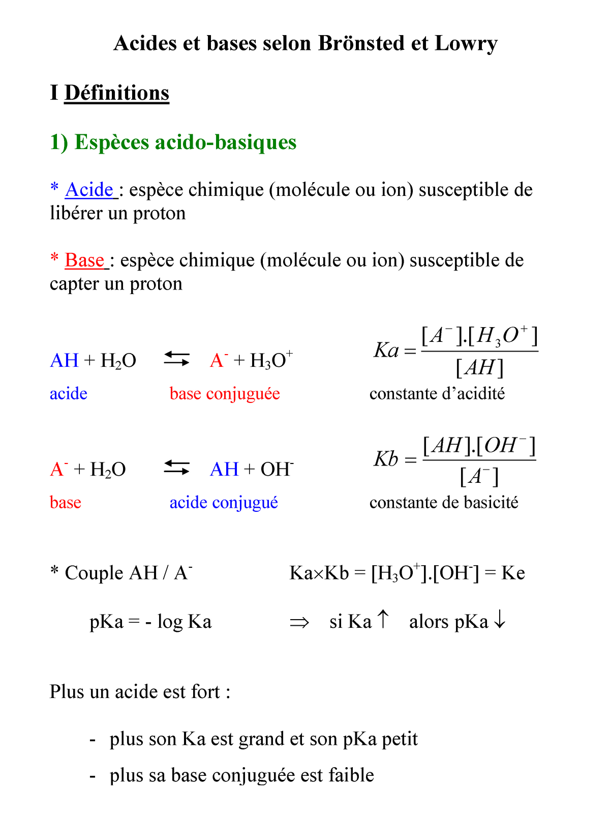 Chimie Acides Et Bases Selon Bronsted Et Lowry Studocu