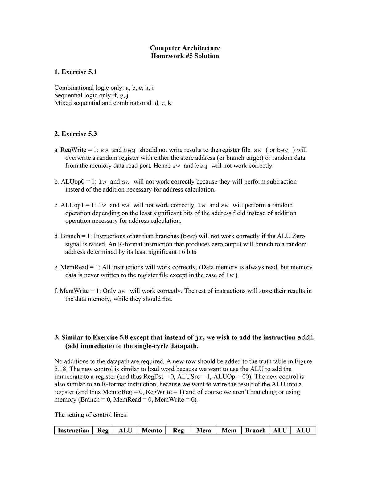 451 hw5 solution - CIS 451: Computer Architecture - StuDocu