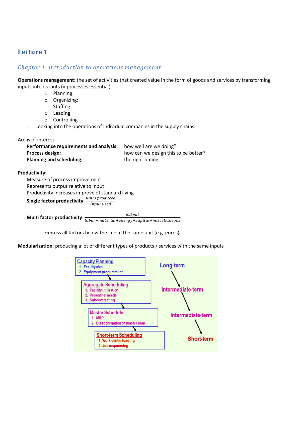 Notes Operations Management, Lecture 1 / 10 + graphs and figures