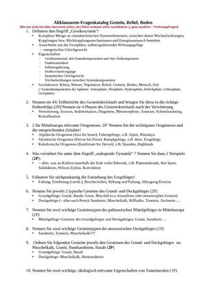 Klausur Vorbereitung Zusammenfassung 12geo B Pg01a Grundlagen