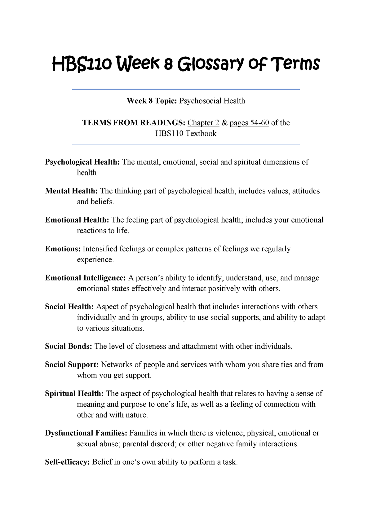 HBS110 Week 8 Glossary of Terms from Textbook (Psychosocial