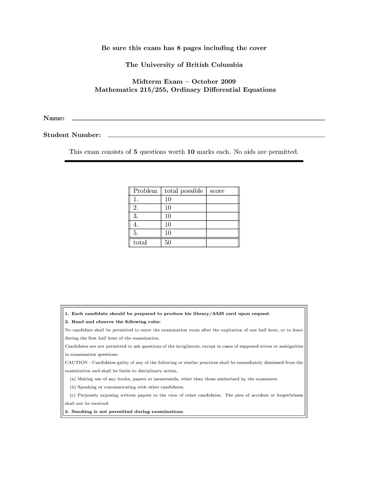 Exam October 2009, Questions and answers - Mid-term 1
