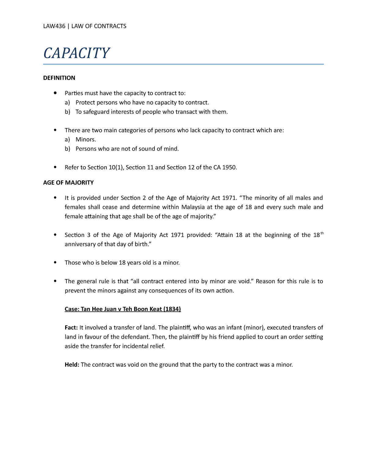 Capacity notes contracts law - LAW416: Business Law - StuDocu
