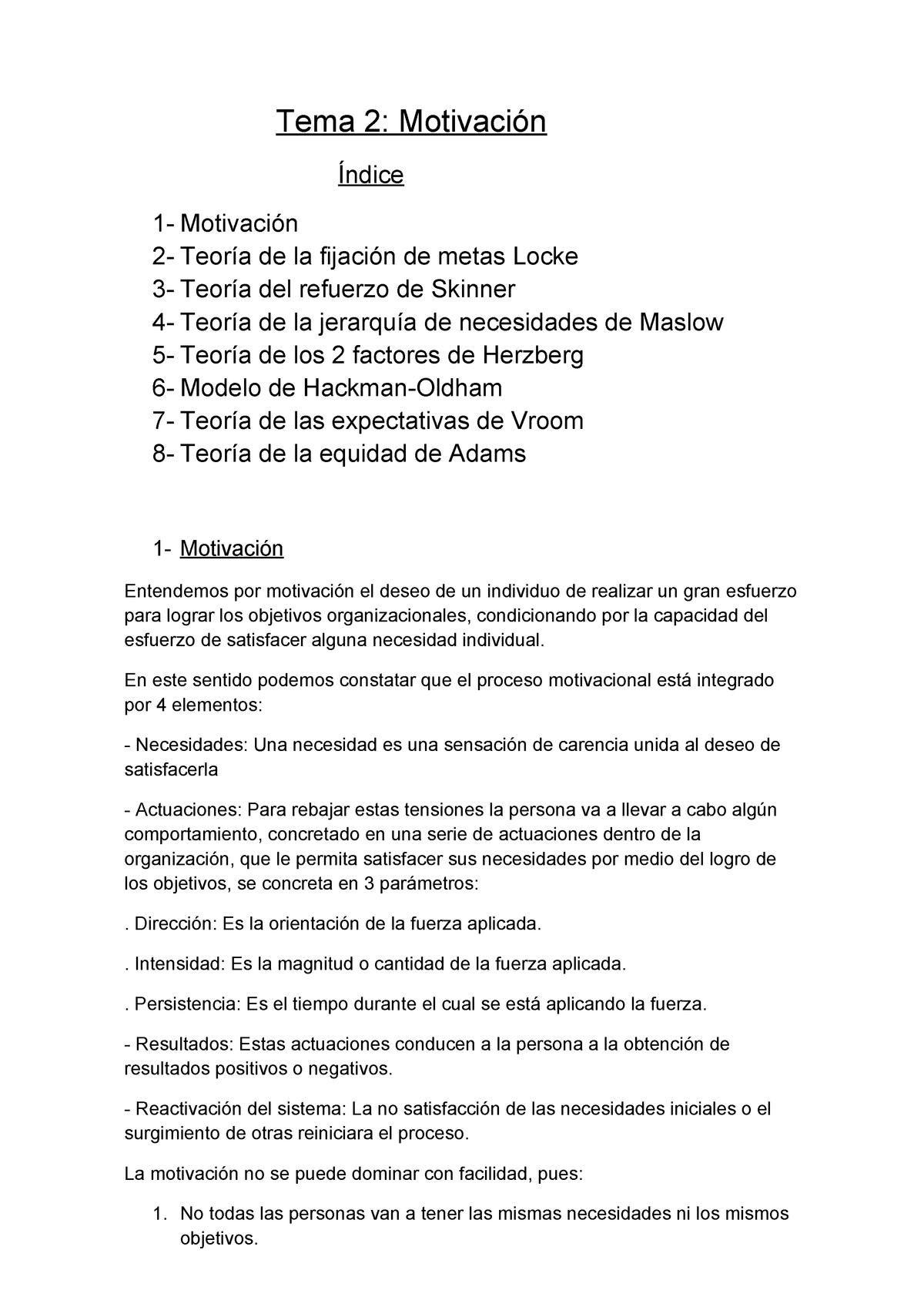 Tema 2 La Motivación Habilidades De Dirección Y Gestión