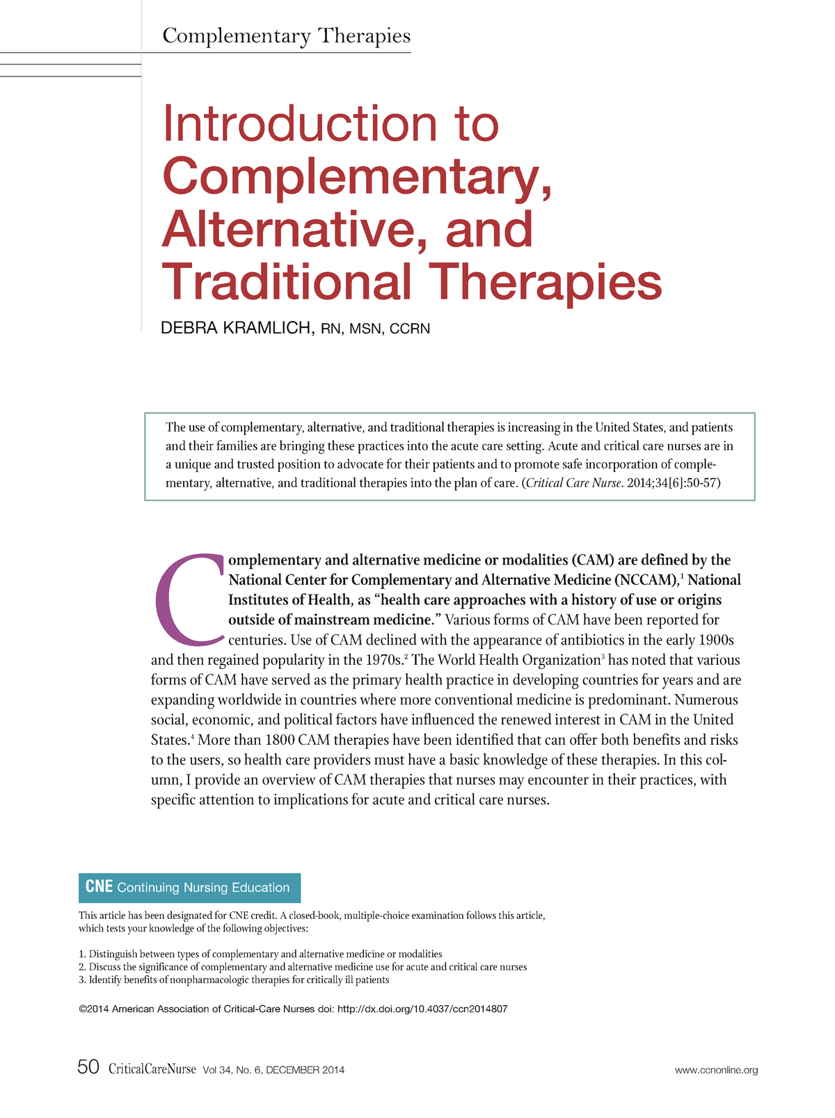 C1463 - Introduction to Complementary, Alternative, and