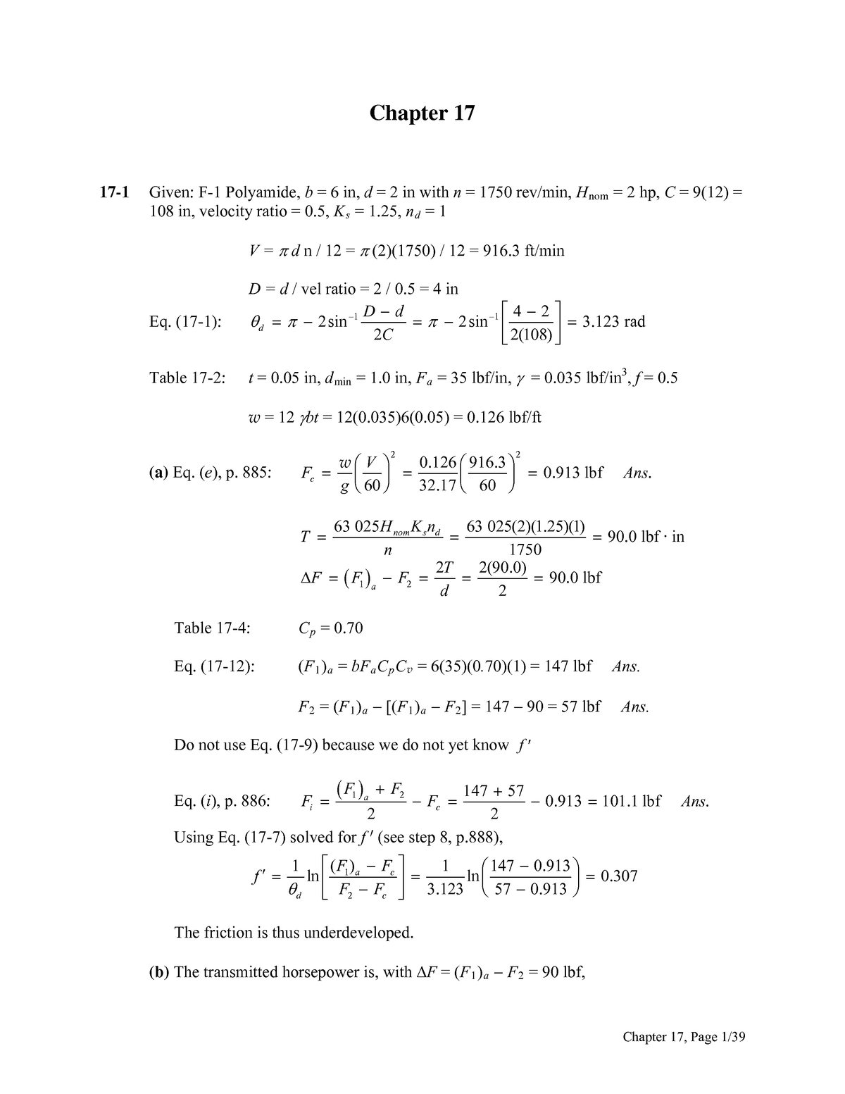 Chapter 17 Solutions Solution Manual Shigley S Mechanical Engineering Design Studocu