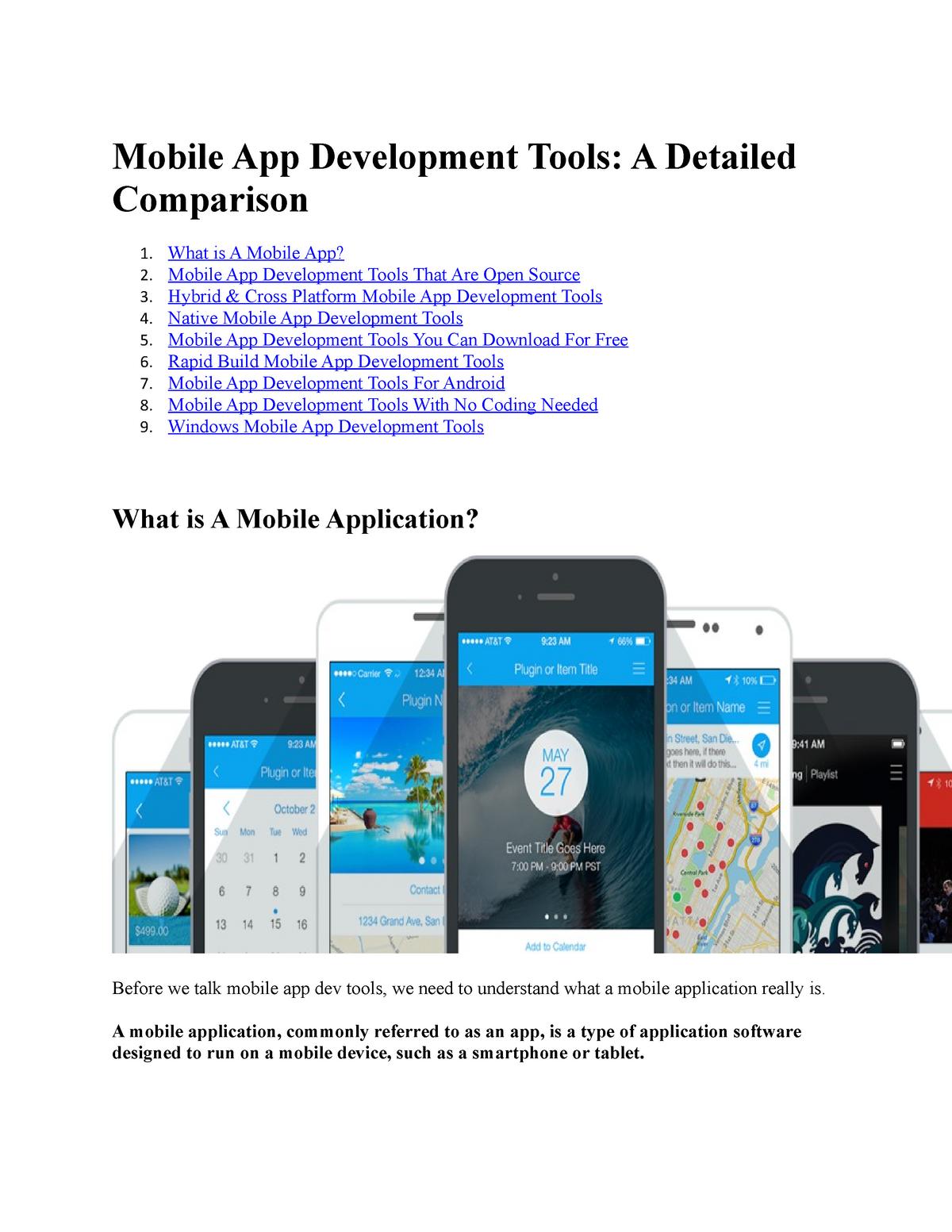 Mobile App Development Tools - FIT1046: Bachelor of Information