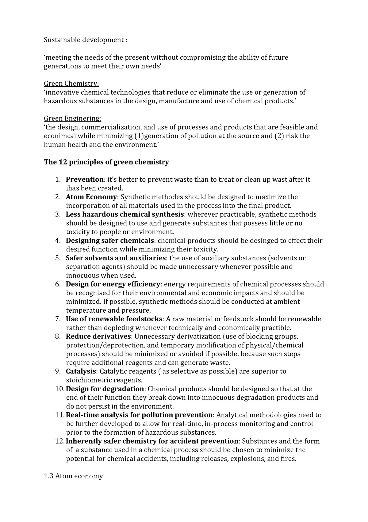 Summary Sustainable Chemistry Learning Objectives Complete