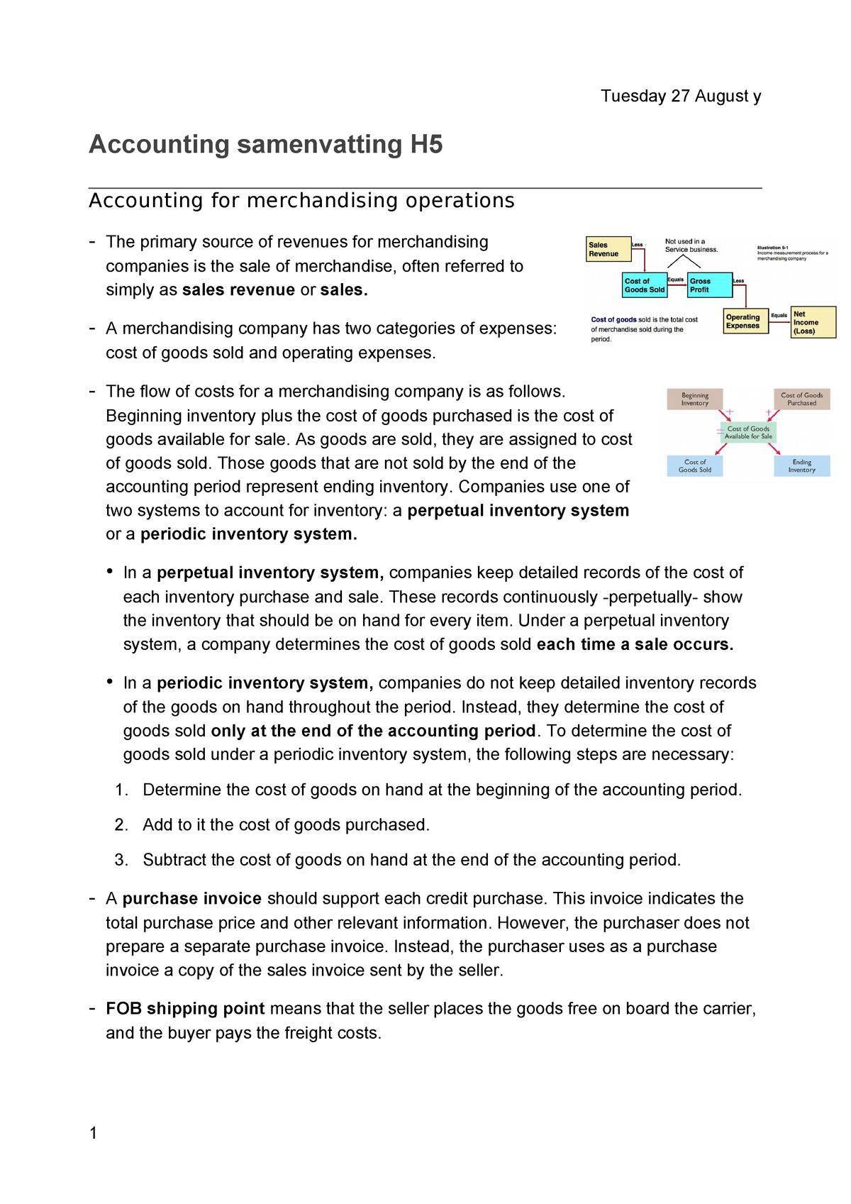 Accounting samenvatting H5 - FEB11018 - StudeerSnel nl