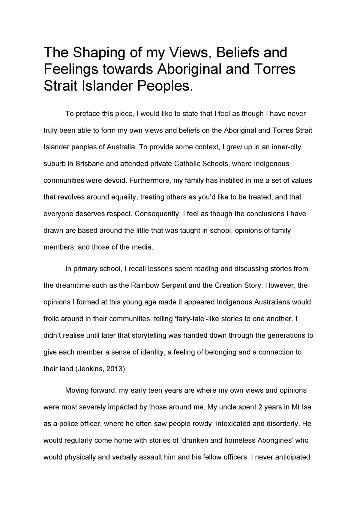 reflection essay - hlsc120  indigenous health and culture