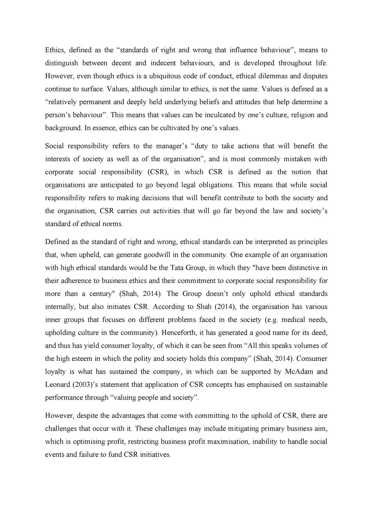 WMGM102 Assessment Task 1 - Essay - MGMT: Management - StuDocu