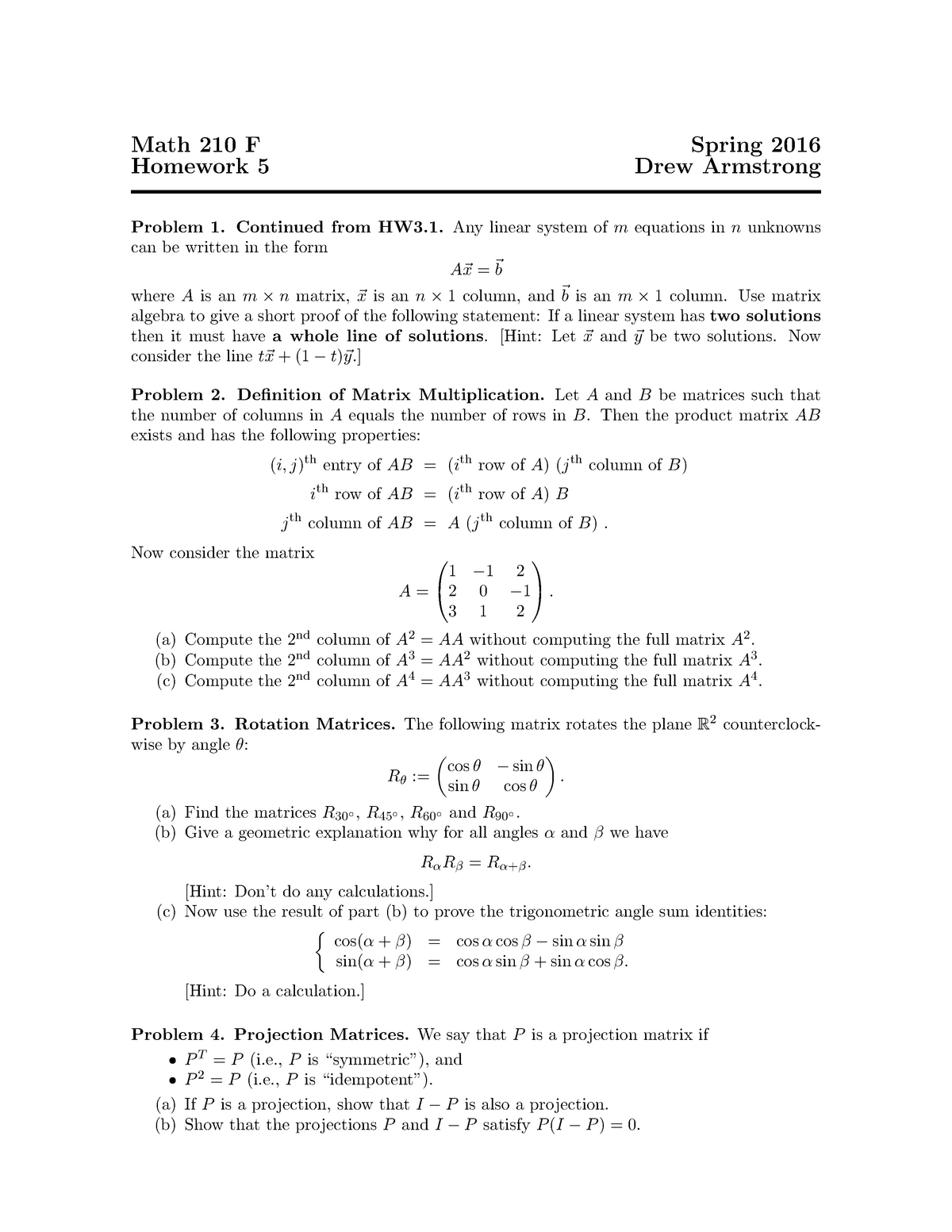 Spring 16, hw 5 - homework - MTH 210: Introduction To Linear