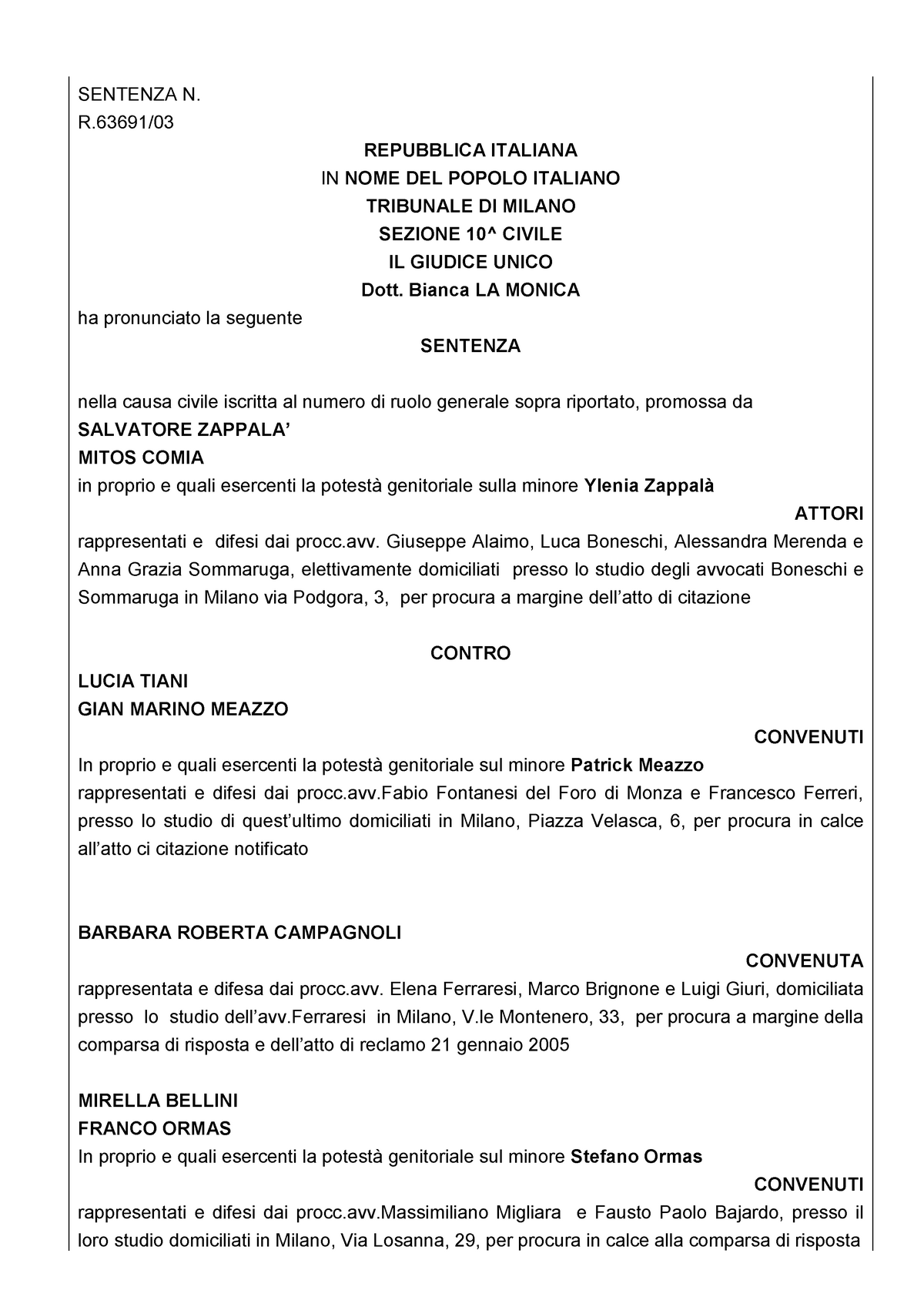 Sentenza di Cassazione - Istituzioni di diritto privato