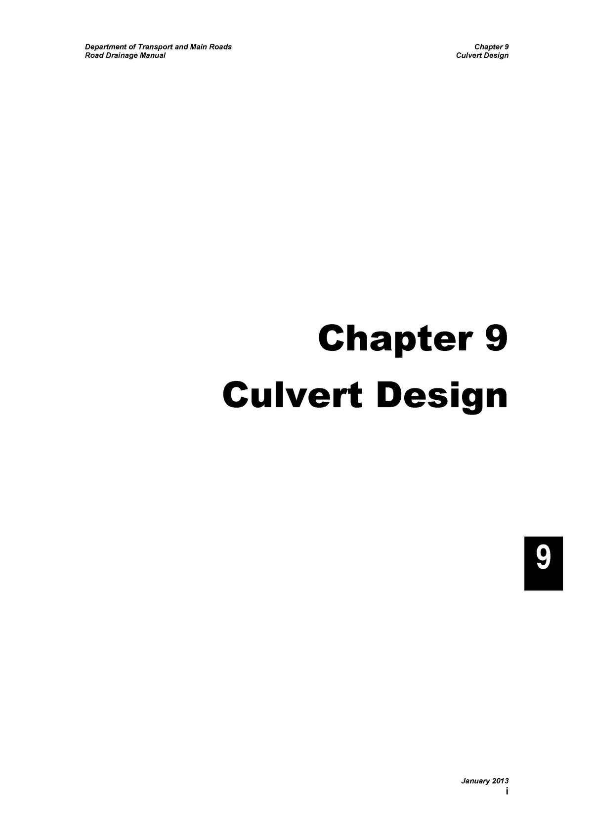 Manual Road Drainage Chapter 9 - 3113ENG: Civil Eng Design Project