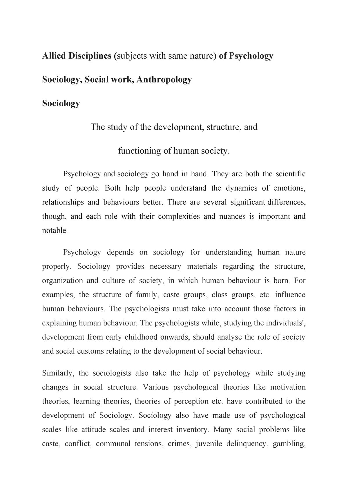 Alliedd disciplines - Lecture notes 1 - SOC-524: Social