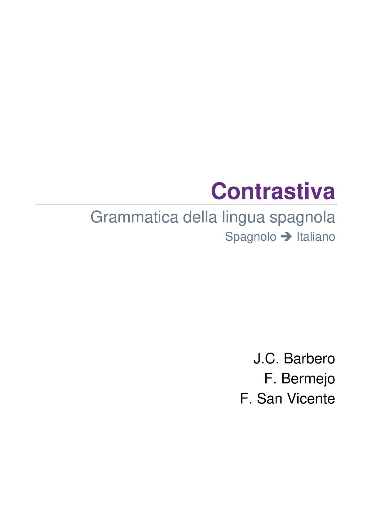 Grammatica Spagnolo Unipi Studocu